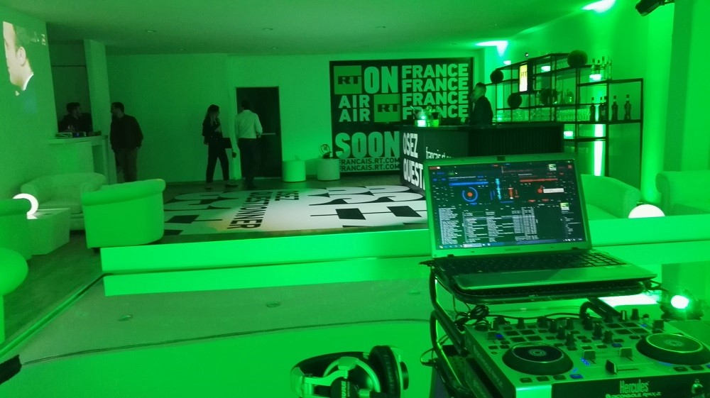 DJ Simon Hale setup and ready to DJ at an event in Cannes during Cannes Lions
