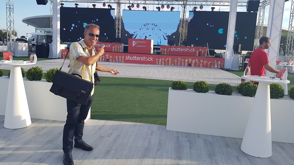 English DJ Simon Hale (aka DJ French Riviera) arrives to DJ a large outdoor event at the 'Palais de Congres', Cannes
