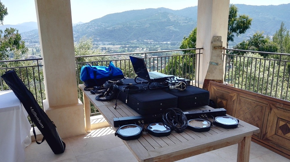 English DJ Simon Hale (FB @DJFrenchRiviera) setting up ahead of an event near Cannes during MIPIM