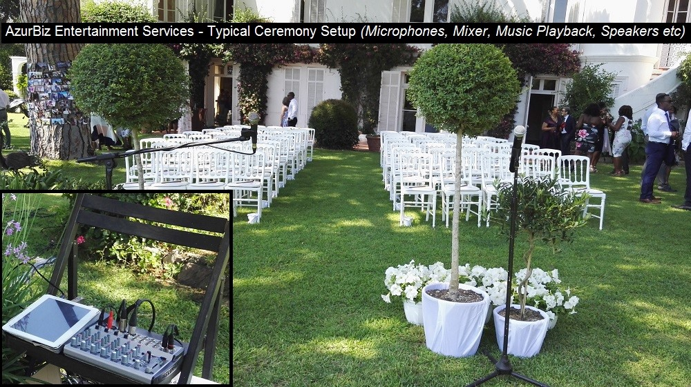 English DJ Simon Hale on the French Riviera also provides all required Sound Systems & Microphones for Mariage Ceremonies in Cannes, St Tropez, Monaco, French Riviera