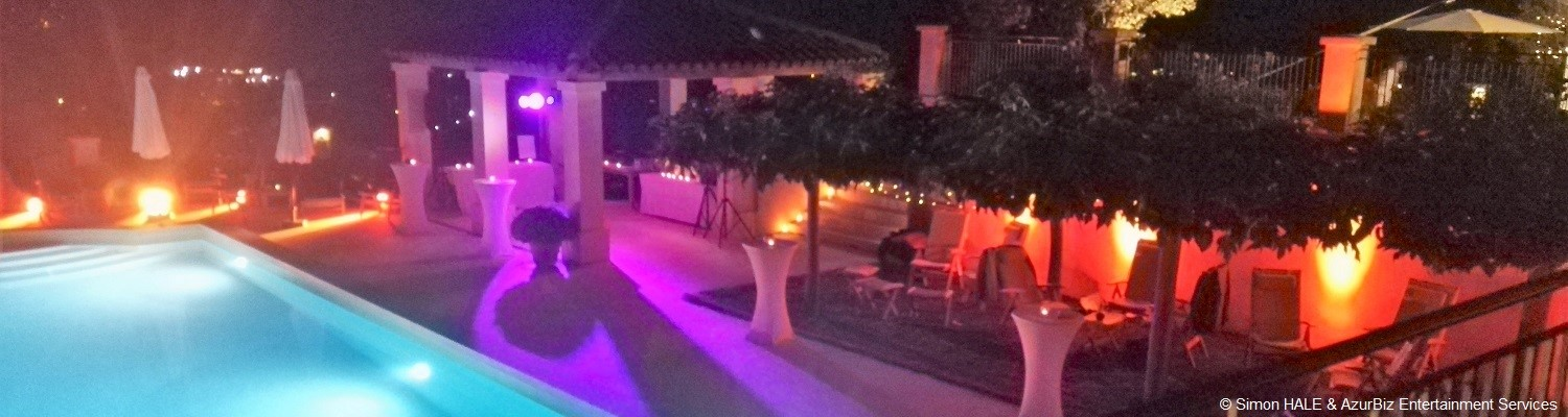 DJ French Riviera can also supply Ambient Uplighting, to set the right mood for your private party, corporate  event or wedding reception - St-Tropez, Cannes, Monaco / Monte-Carlo - French Riviera
